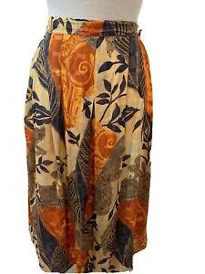 Libra Skirt Midi Pleated Layered Lined  Multi Brown Orange Beige Floral UK 12