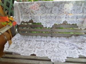 "2 Lace Valances - 48"" x 16"" each - Bright White - Floral Pattern"