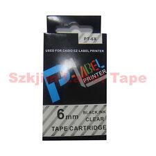 "Casio Compatible xr-6x Negro Sobre Transparente 6mm 8m Etiqueta Cinta 1/4 X 26 ""cw-l300 xr-6x1"