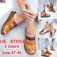 Ladies Womens Wedge Heel Slip On Summer Mules Sandals Slippers  Shoes Size 6-9