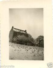 Maison jardin hiver neige enneigé - photo argentique ancienne an.1950