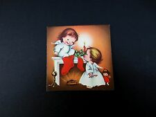 Unused Vintage Xmas Greeting Card Adorable Angels Hanging Stockings By The Fire
