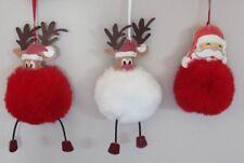 Christmas Tree Ornament Decoration Reindeer & Santa large pom pom red or white