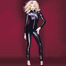 Women Faux Leather Jumpsuit Wet Look Catsuit Bodycon Zipper Bodysuit Clubwear