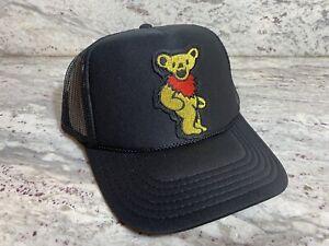 GRATEFUL DEAD YELLOW BEAR BLACK CAP 5 PANEL HIGH CROWN TRUCKER SNAPBACK VINTAGE