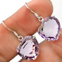 Natural Heart - Amethyst Brazil 925 Sterling Silver Earrings Jewelry SDE26675