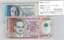 2 BILLETS  ILE MAURICE -50 ET 500 ROUPIES - 2013 - NEUF!!!!!