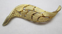 Vintage Heavy Wavy Thick Gold Tone Leaf Pin Brooch Unsigned