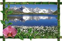 Sticker mural trompe l'oeil déco lac montagne réf 990