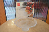 """Bon Bon Tray Footed Mikasa Winter Dream 9"""" Frosted Glass With Box"""