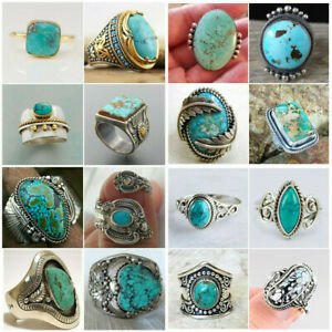 Wholesale Handmade Turquoise Silver Ring Women Men Vintage Jewelry Size 5-12