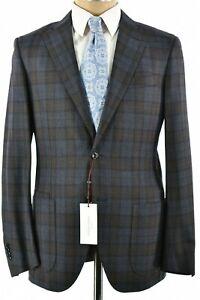 Luciano Barbera NWT Sport Coat Sz 52 42R US Brown & Light Blue Plaid Silk/Wool
