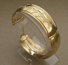 Women's Lady's Yellow Gold Plated Bangle Bracelet 20mm Wide w Lock Figaro Chain