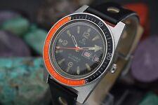Vintage ELGIN Automatic 25j M-135 Steel Skin Diver Bakelite Orange Bezel Watch