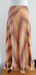 Per Una Beautiful Orange Linen panelled Maxi Skirt Uk18