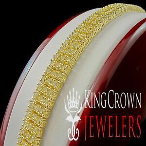 Mens Ladies Canary Yellow Gold Finish Round Cut 3 Row 11MM Simu Diamond Bracelet