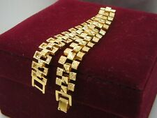 Elegant 14ct 9ct Yellow Gold GF Watch Band Soild womens mens bracelet 20cm 8""