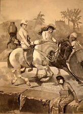 "Morning Ride in India 1891 British Empire Raj Women Horse Side Saddle 7x5"" Print"