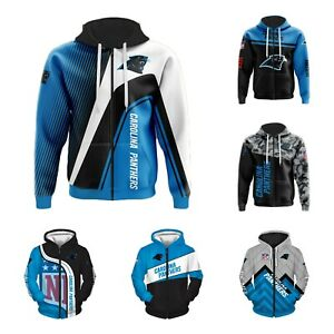 Carolina Panthers Hoodie Zippered Sweatshirt Casual Jacket Fans Sportwear Gift