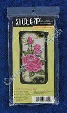 Stitch & Zip Needlepoint Eyeglass Case Kit Pink Roses on Black Pre Assembled