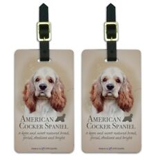 American Cocker Spaniel Dog Breed Luggage Id Tags Carry-On Cards - Set of 2