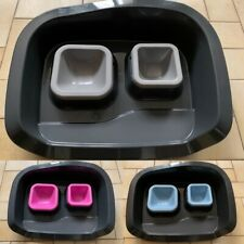 Non Spill Cat Dog Puppy Bowls + Feeding Set Water Dish Food Pet Tray Easy Clean