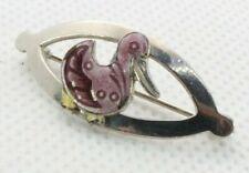 Purple & Yellow Enamel - Silver Tone Brooch Pin - Small Oval - Duck -
