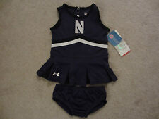 $37 NWT UNDER ARMOUR Northwestern Wildcats NU Purple Cheerleader 2 Piece Set 18M