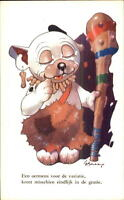 Bonzo Fantasy Dog GE Studdy Postcard - Cave Man w/ Club