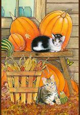 """""""Pumpkin Patch Kittens"""" 12.5"""" x 18"""" Fall Garden Flag by Toland"""