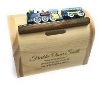 Personalised Blue Train Money Box Christening Birthday New Born Baby Gift