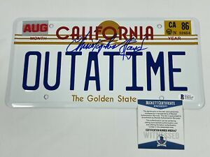 Christopher Lloyd Signed OUTATIME Metal License Plate BTTF Beckett BAS COA!!