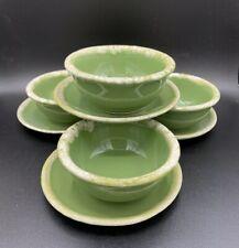Vintage Hull Green Drip Avocado Cereal / Salad Bowls W/matching Saucers Set Of 4