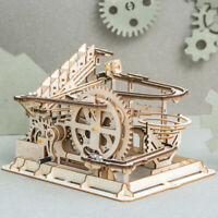 Robotime DIY Wooden Mechanical Model Kits Marble Run Game Waterwheel Coaster