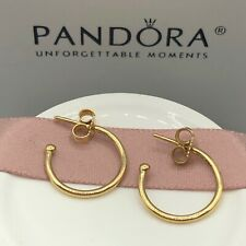 Hoops Earrings #250442 w/Hinged Box New! Authentic Pandora 14K Gold Small