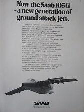 5/1973 PUB SAAB AIRCRAFT TWIN JET SAAB 105 G SWEDISH AIR FORCE ORIGINAL AD