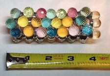 Multi Pastel Color  Faceted Glass Bead Stretchy Bracel