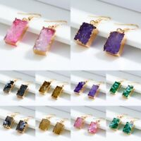 Women Geometric Natural Stone Crystal Drop Dangle Hook Stud Earrings Jewellery