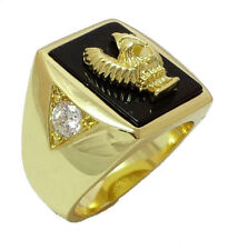 18K GOLD EP CZ ROUND CUT MENS EAGLE DRESS RING 9 or R 1/2 other sizes available
