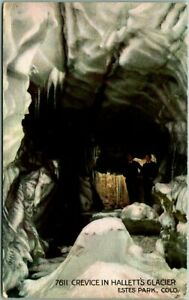 "1915 Rocky Mountain National Park RMNP Postcard ""Crevice in Hallett's Glacier"""