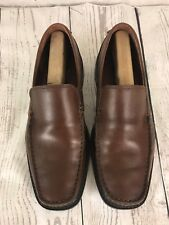 Ecco New York Mens 42D Extra Width 9 Brown Leather Moc Toe Slip On Loafers Shoes