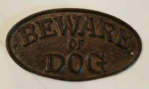 """METAL CAST IRON BEWARE OF DOG SIGN / 7"""" X 4"""" VINTAGE LOOK DOOR WALL BRAND NEW!"""