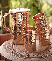"""Glass Lid-CA /""""Donga/"""" Inside Steel Serving Bowl Pure Copper 500ML Handi"""
