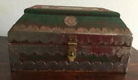 Lovely Vintage Wooden Box With Pressed Metal Features