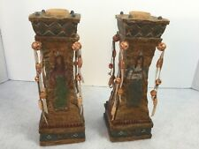 """Trippies Inc """"The American Indian Collection""""Pair Of Decorative Candlesticks 8"""""""