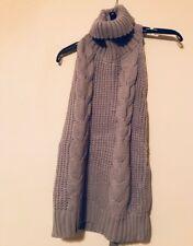 Fashion Open Back Cable Knit Turtleneck Sleeveless Sweater Grey ~ Sz M ~ NWT