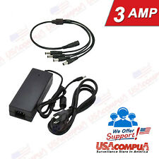 Power Supply Adapter 12V 3000mA Security Camera System Adapter AC/DC + Splitter