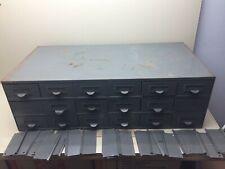 Vintage Grey Industrial Parts Cabinet 18 Drawers Parts Bins Parts Cabinet
