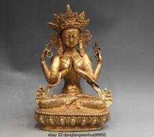 Chinese Buddhism Bronze Copper Four Arm Hands Bodhisattva Kwan-Yin Buddha statue