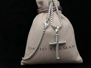 David Yurman Men's Sterling silver Cable Cross Pendant Necklace 22 in